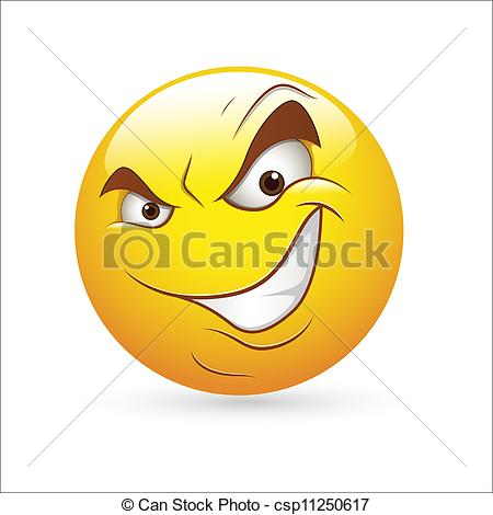Vector   Cunning Evil Smiley Expression   Stock Illustration Royalty