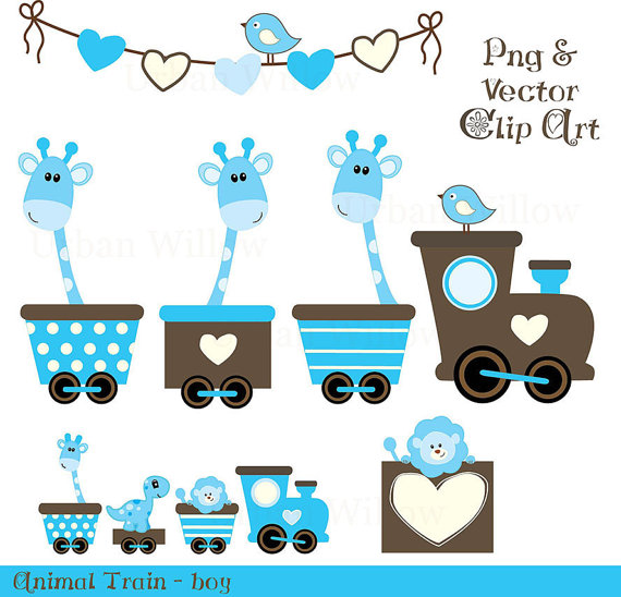 Animal Train Boy   15 Piece Clip Art And Digital Papers Set In High