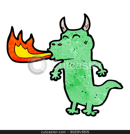 Cartoon Funny Dragon Stock Vector Clipart Retro Cartoon With Texture