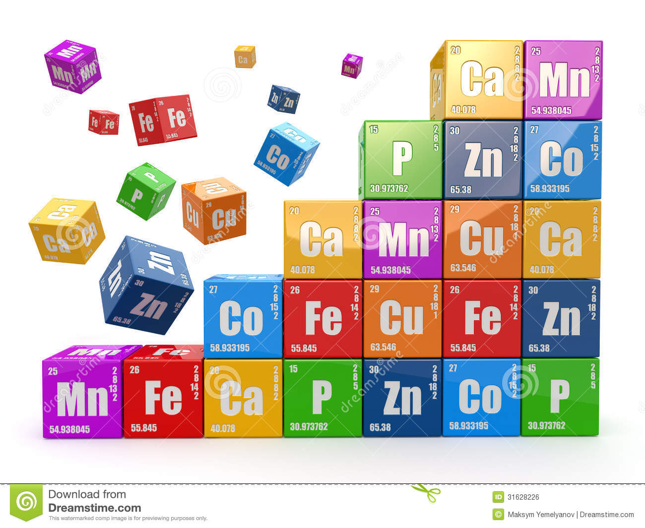 Chemistry Concept  Wall From Cubes Wiyh Periodic Table Of Elemen