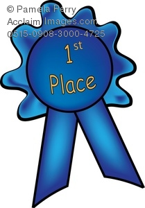 Clip Art Illustration Of A First Place Blue Ribbon   Acclaim Stock