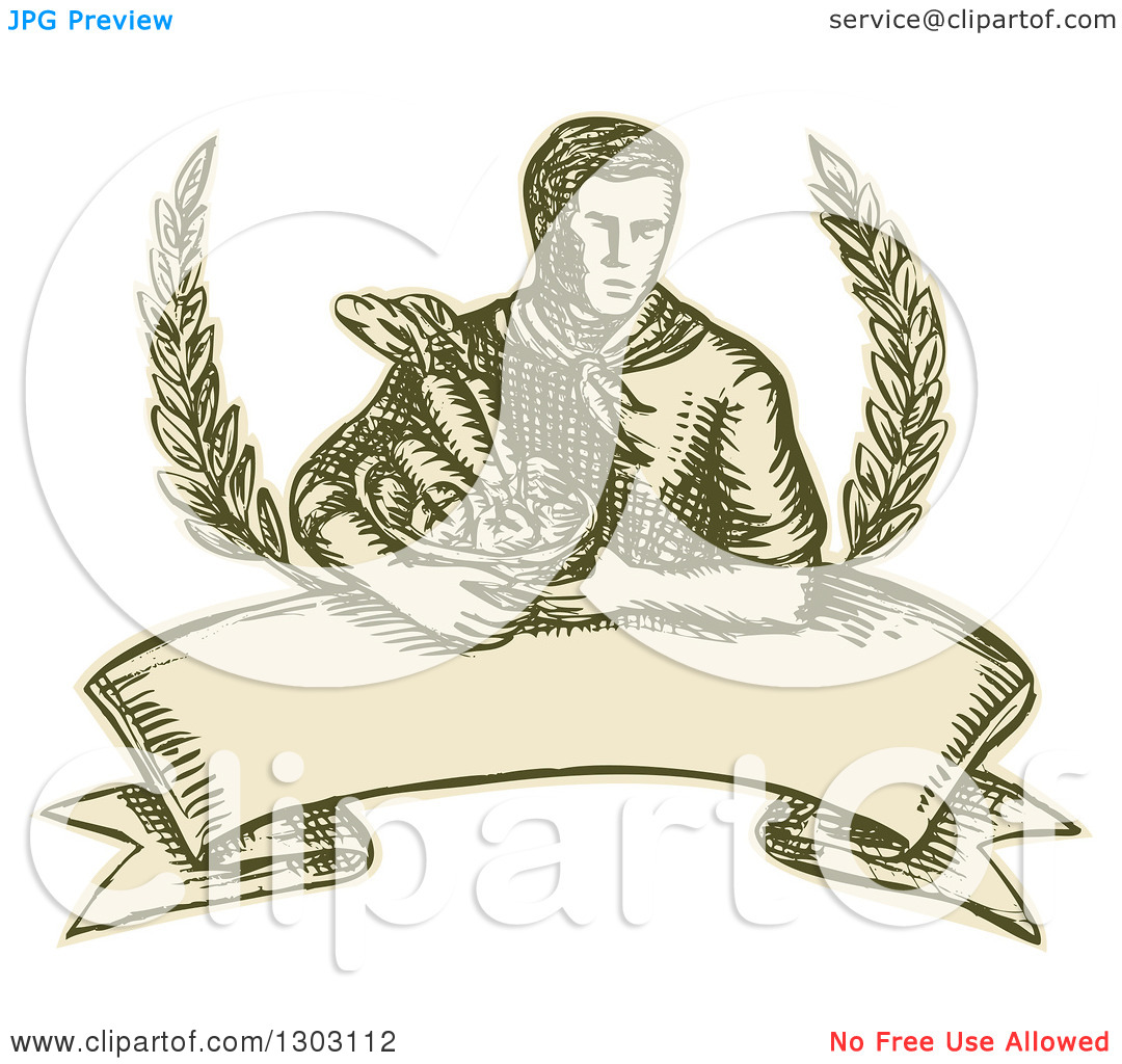 Clipart Of A Sketched Or Engraved Farmer Holding A Harvest Basket With