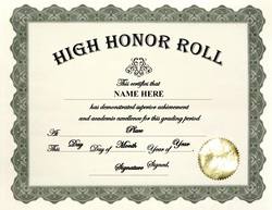 College gpa honor roll clipart clipart suggest for Principals list certificate template