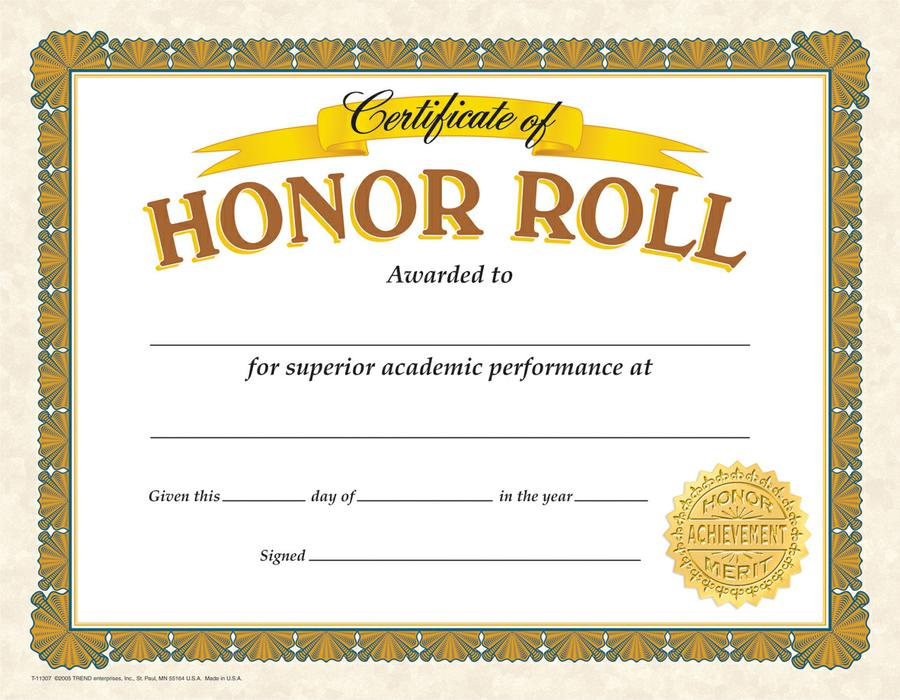 Honor Roll Classic Certificates
