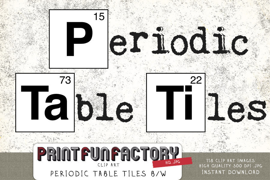 Periodic Table Tiles Black White Clip Art Instant Download By