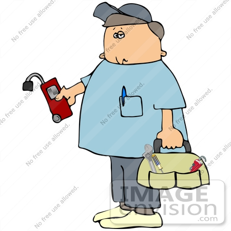 41186 Clip Art Graphic Of A Gas Utility Technician Carrying A Tool Bag