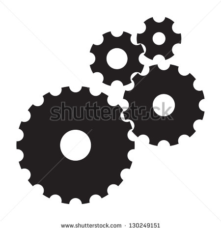 Black Cogs  Gears  On White Background Stock Vector Illustration