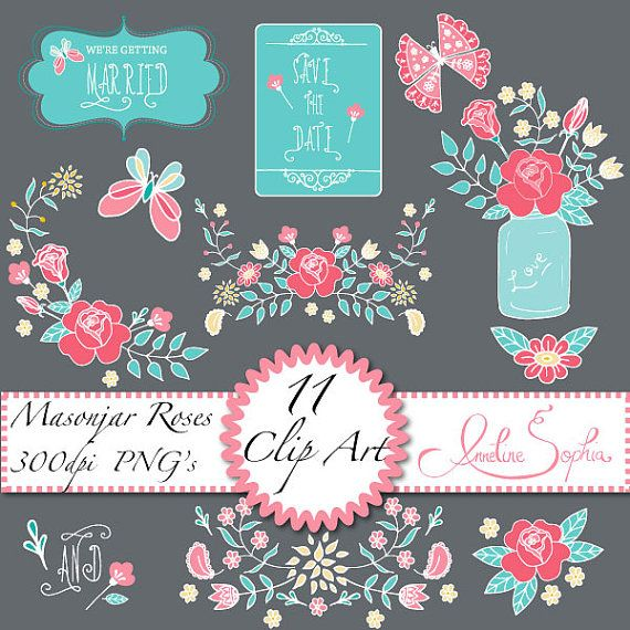 Clipart Coral Turquoise Aqua Pink Butterflies Clipart Digital Floral