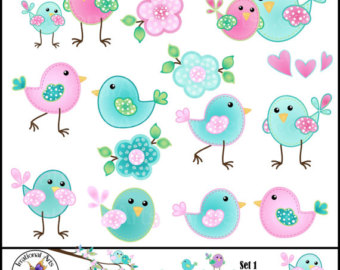 Clipart Graphics With 19 Cute Birds And Flowers Pink Turquoise Aqua