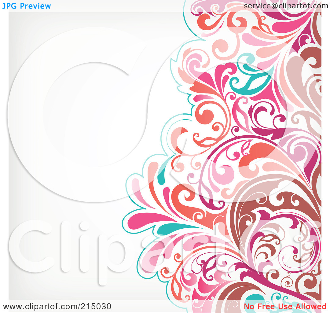 Free Rf Clipart Illustration Of A Brown Pink And Turquoise Floral