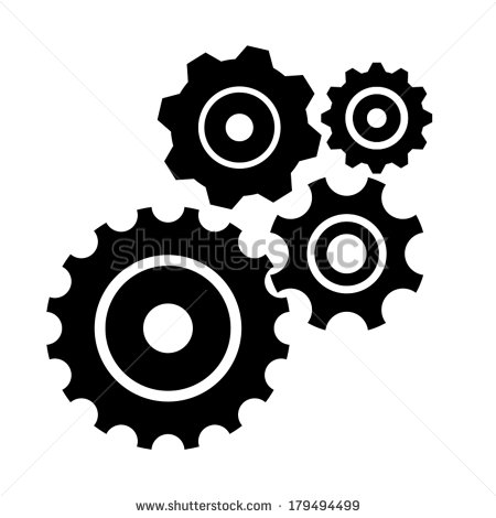 Gear Collection  Set Of Vector Gear Wheels  Black Cogs On White