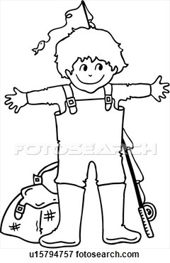 Happy Kid Reel Rod Youth People View Large Clip Art Graphic