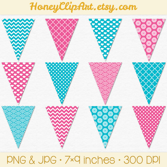 Hot Pink And Turquoise Bunting Clip Art Pink And Blue Flag Printable