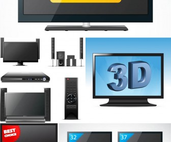 Lcd Tv Clipart Vector 5 Sets With 13 Vector Lcd Tvs Clipart For Your