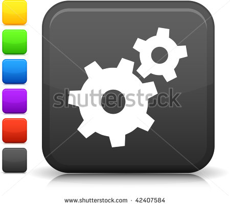 Machine Gear Icon On Square Internet Button Six Color Options Included