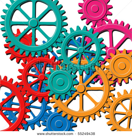 Mechanical Background With Gears And Cogs Stock Vector Illustration