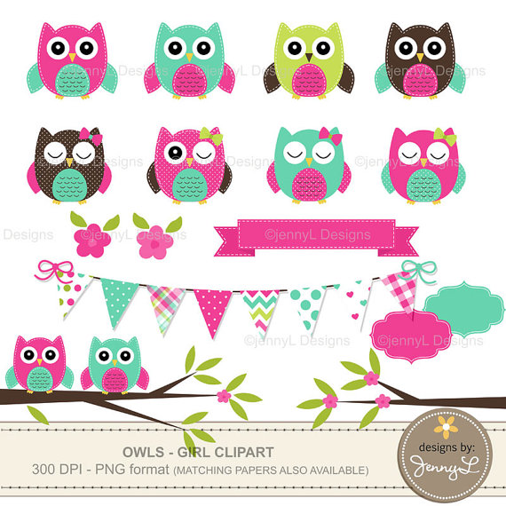 Owl Clipart Hot Pink Owl Turquoise Stitched Owl Girl Baby Shower