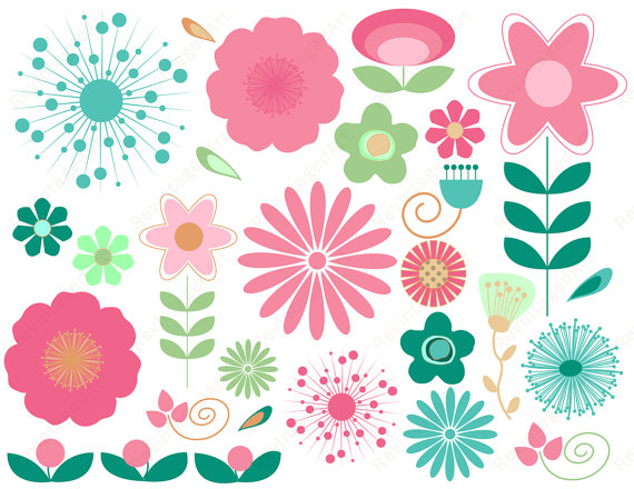 Flower Pink And Turqouise Clipart - Clipart Kid