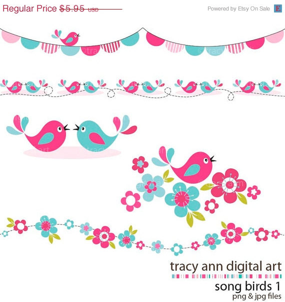 Sale 40  Off Pink And Aqua Song Bird Clip Art Blossoms And Borders