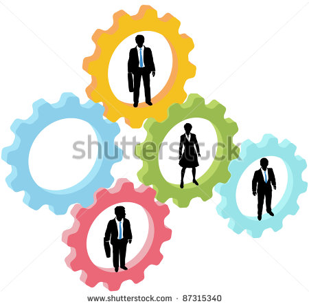 Team Of Business People Work Inside Technology Gears With One Gear