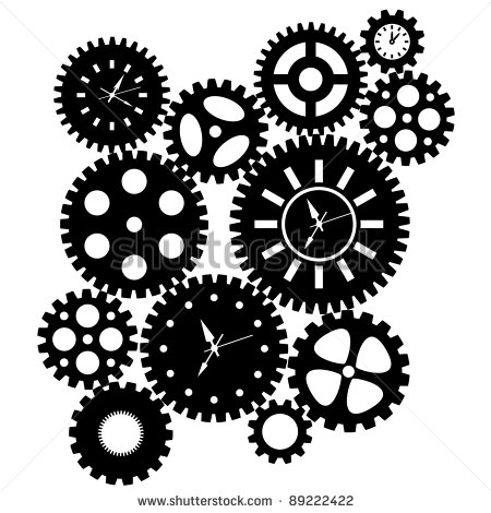 Time Clock Gears Clipart Black Silhouette Isolated On White Background
