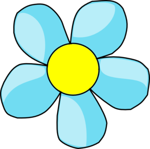 Turquoise Blue Flower With Yellow Center Clip Art   Vector Clip