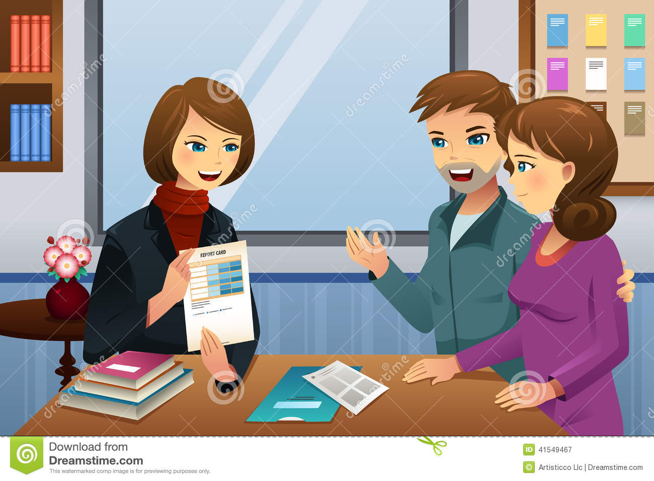 Vector Illustration Of Parents And Teacher Meeting Discussing The