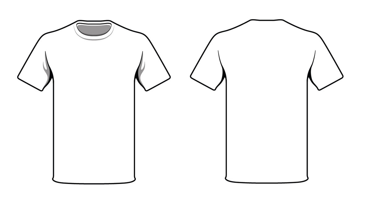 White shirt front back clipart clipart suggest for White blank t shirt