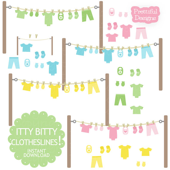 Baby Clothesline Clip Art With Onesie Mitten Bootie Bib In Pink Yellow