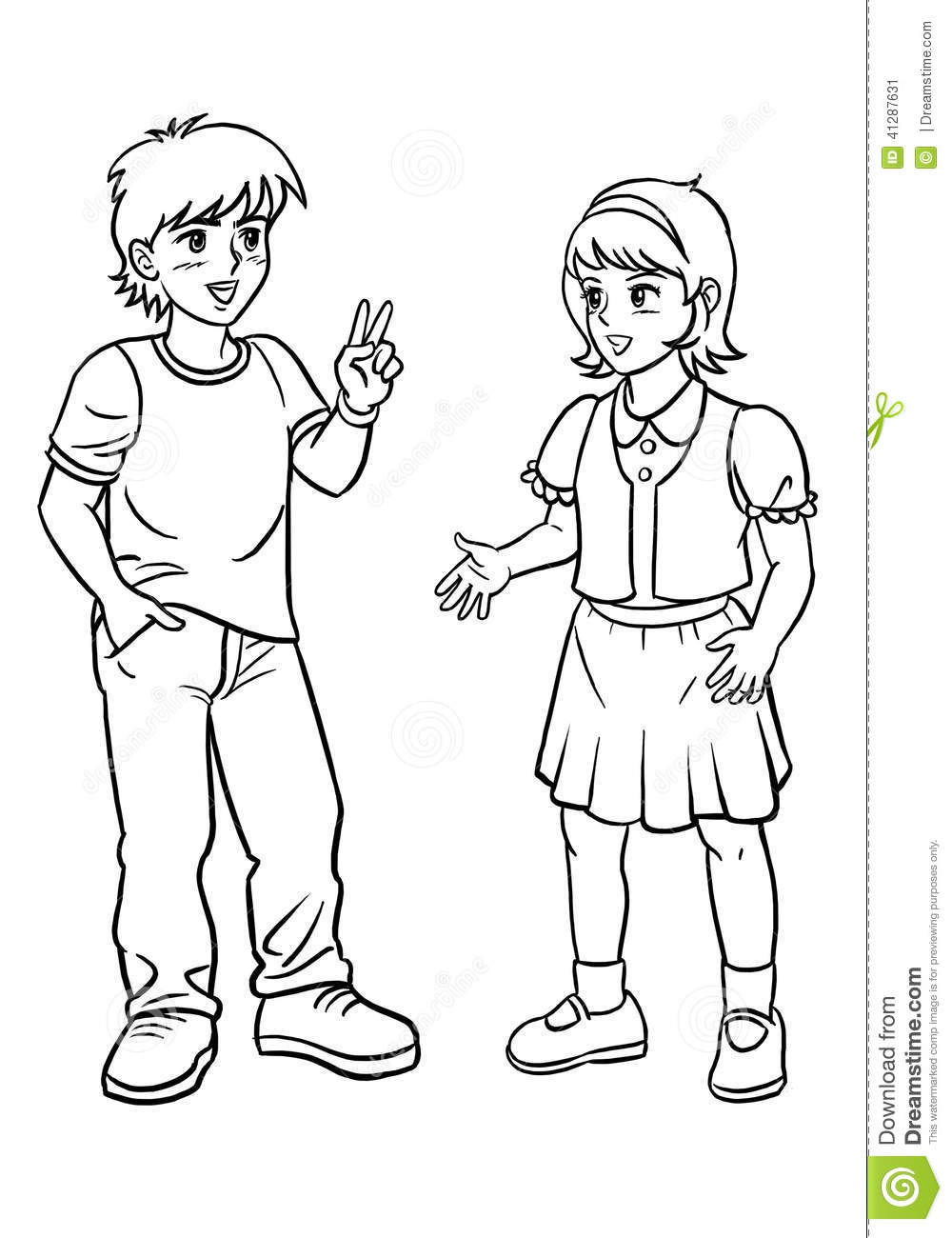 Boy And A Girl Standing And Talking Hand Drawing Clip Art