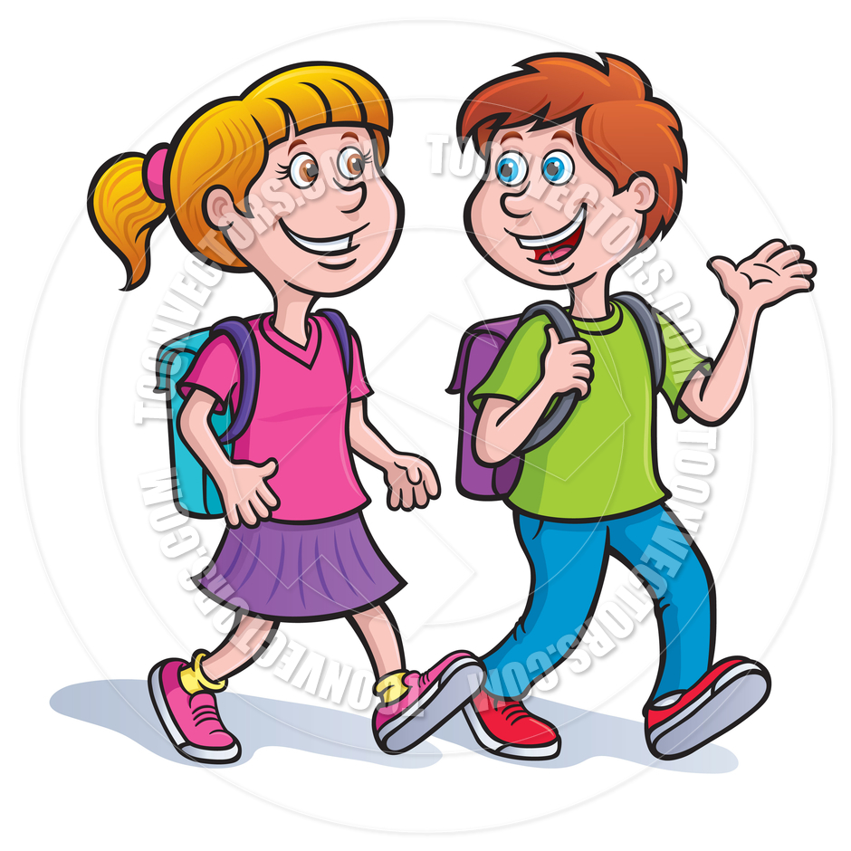 Boy And Girl Walking And Talking With Backpacks By Rod Savely   Toon