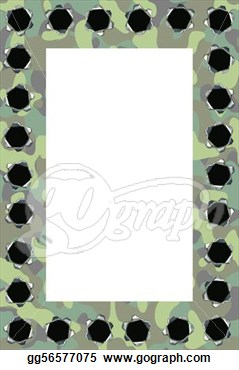 Clip Art   Camouflage Frame With Lots Of Bullet Holes  Stock