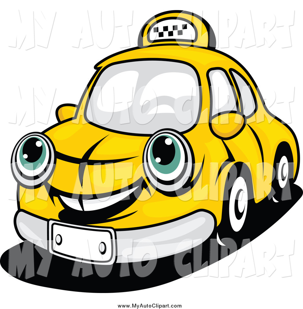 Clip Art Of A Happy Yellow Taxi Cab Car By Seamartini Graphics 2281
