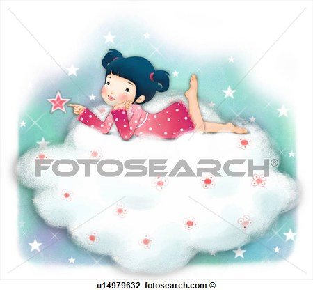 Clip Art Of Person Lying Down People Star Touching Clouds