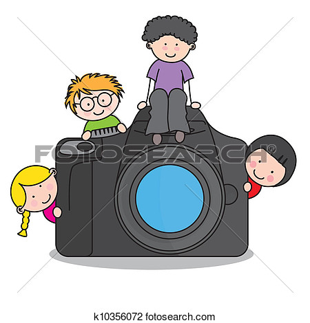 Clipart   Children With A Camera  Fotosearch   Search Clip Art