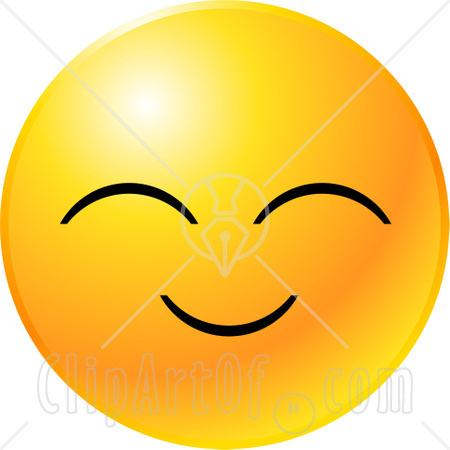 Clipart Illustration Of A Yellow Emoticon Face With A Pleasant Smile