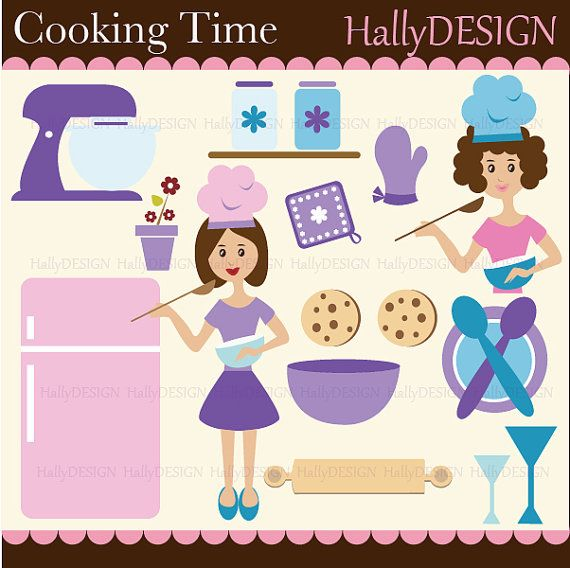 Cooking Time Digital Clipart Set   Personal Commercial Use   Card Des