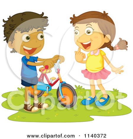 Happy Boy And Girl Talking By A Bike Royalty Free Vector Clipart Jpg