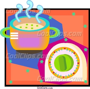 Kitchen Timer On Kitchen Soup And Timer Vector Clip Art
