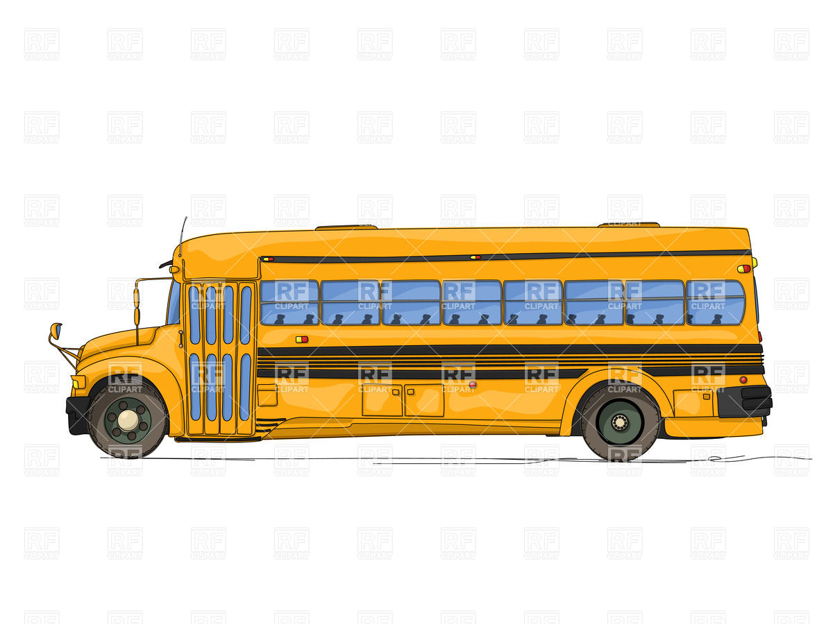 Long Cartoon Style School Bus   Side View 20521 Transportation