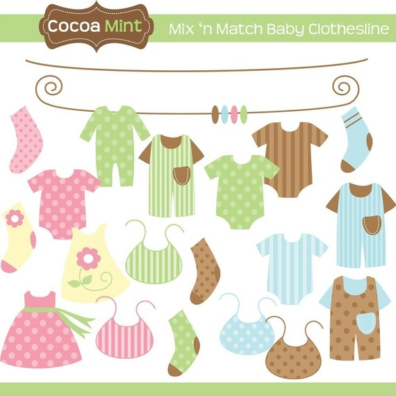 Mix N Match Baby Clothesline Clip Art By Cocoamint On Etsy