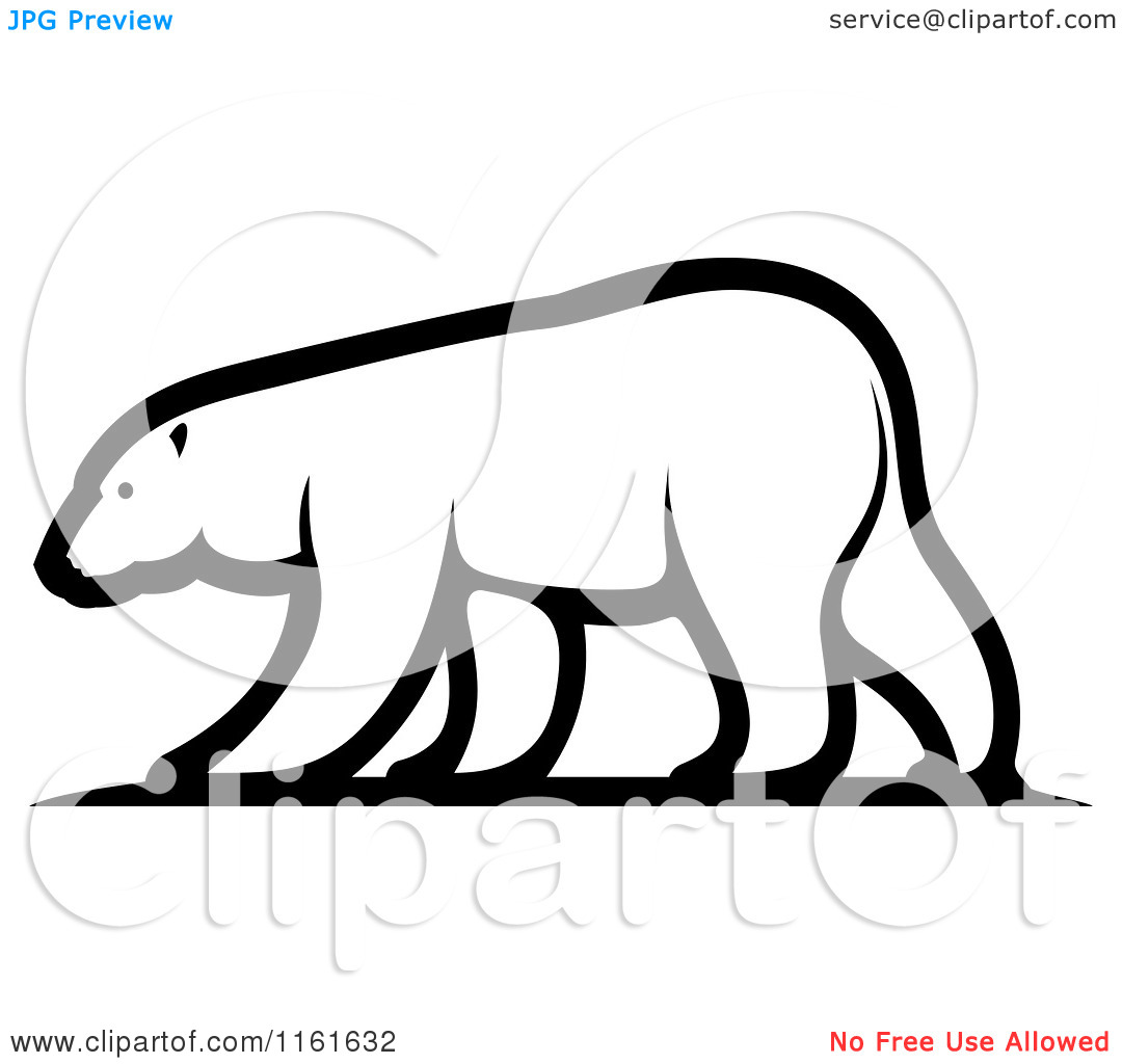 Polar Bear Clip Art Clipart Of A Black And White Walking Polar Bear In