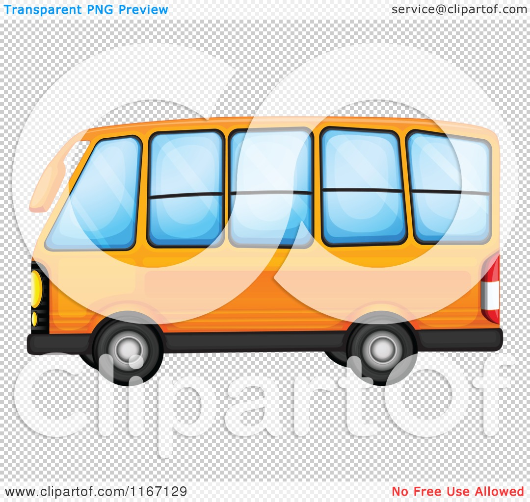 School Bus Side View Flat Front Cartoon Of An Orange Bus Royalty Free