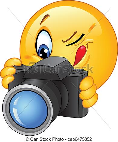 Smile For The Camera Clip Art Vector   Camera Emoticon