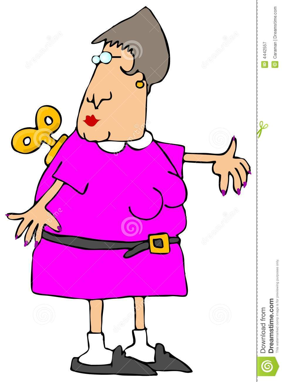 This Illustration Depicts A Woman With A Wind Up Key On Her Back