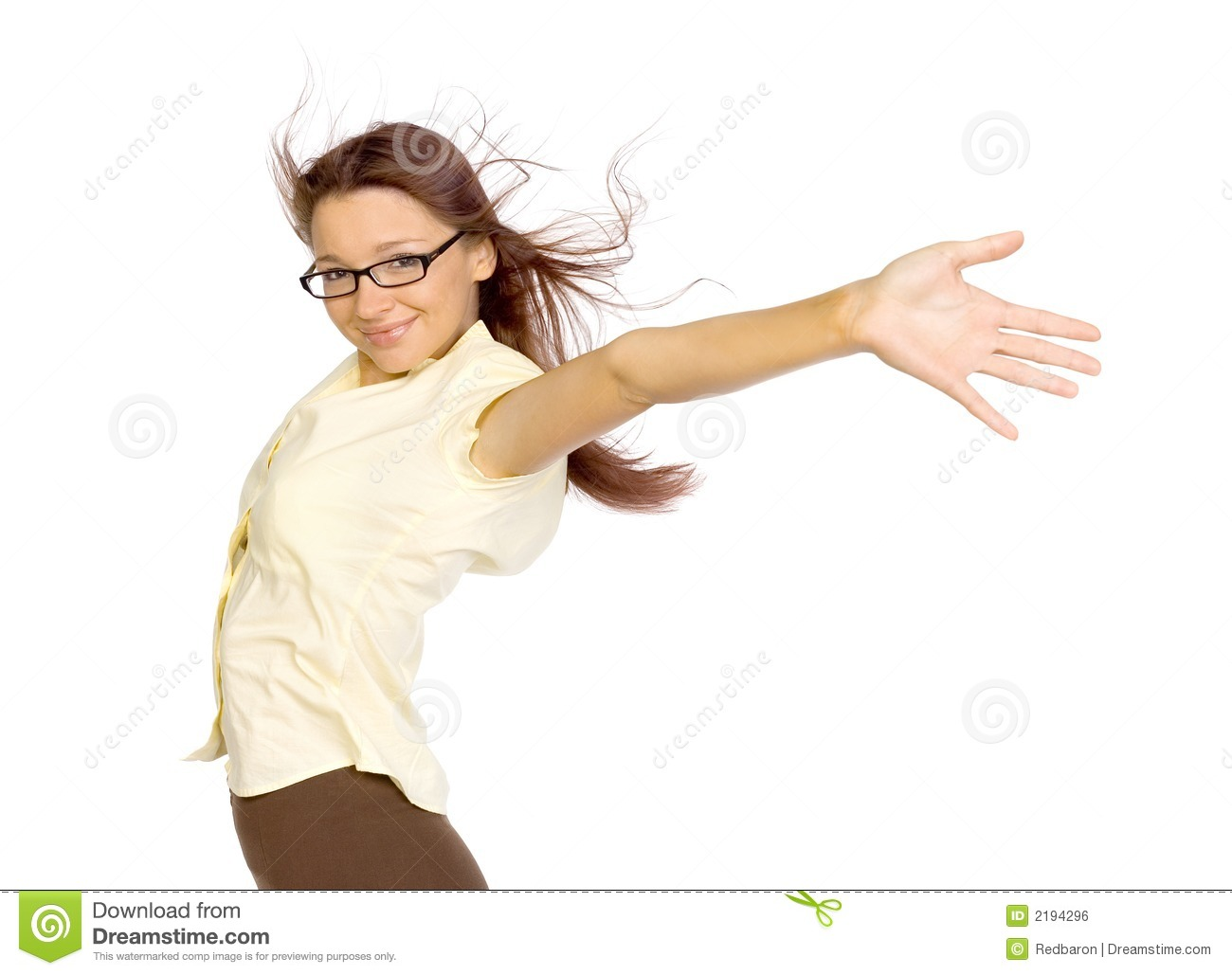 Woman Standing In The Strong Wind  Her Arms Stretched Up  She S