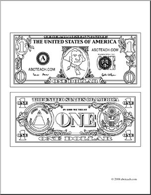 Clip Art  Dollar Bill Outline  Coloring Page    Preview 1