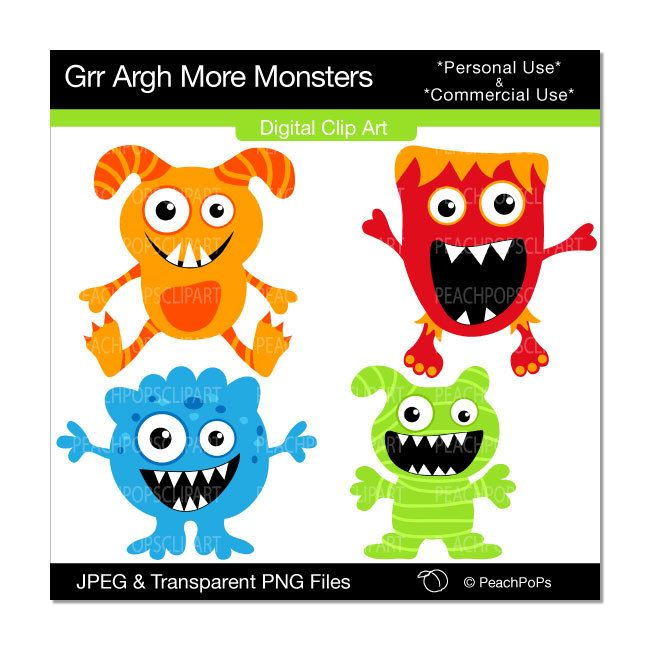Cute Monster Clipart Digital Clip Art Silly Red Blue Green Orange