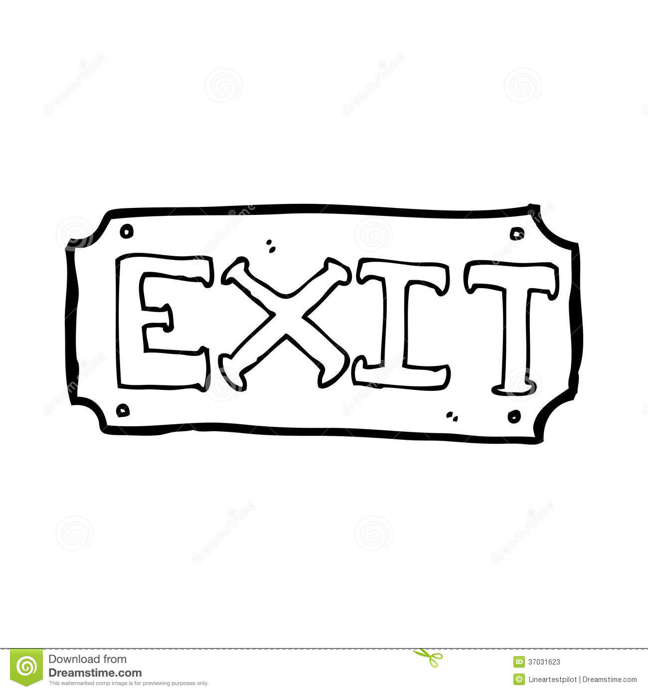 Exit Sign Clip Art Black And White Cartoon Exit Sign