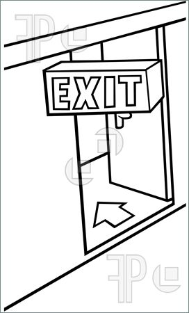 Illustration Of Exit Door   Black And White Cartoon Illustration